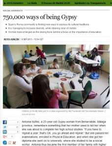 "Article ""750,000 ways of being Gypsy"" from El Pais Newspaper, 9 Sept. 2013"