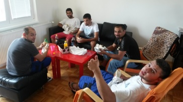 The guys enjoyed some kebabs at lunch on moving day.