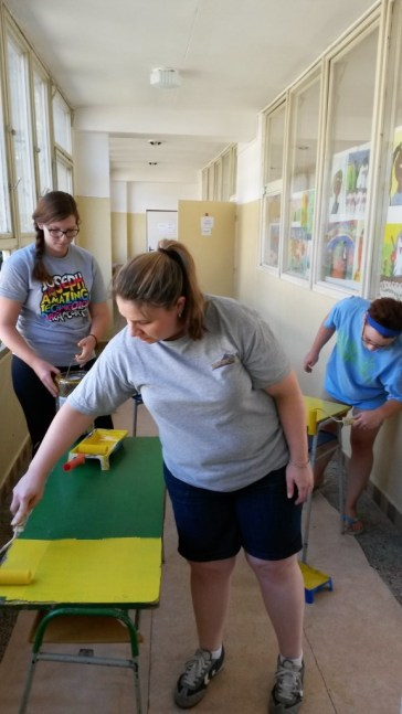 Painting desks (Roma School in Kosice).