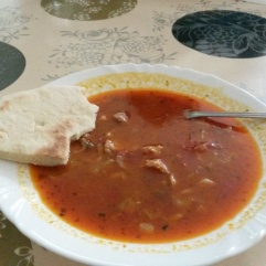 We enjoyed traditional Roma bread and stew during our break (Roma School in Kosice).