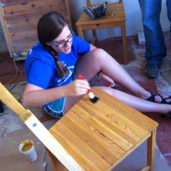 Sanding and staining chairs and tables (Art Center in Kosice).