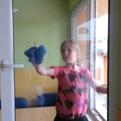 Cleaning windows (Roma School in Kezmarok).