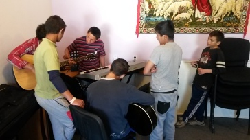 After boys' group, we usually end up sitting and playing music together. These boys really love to sing and play!