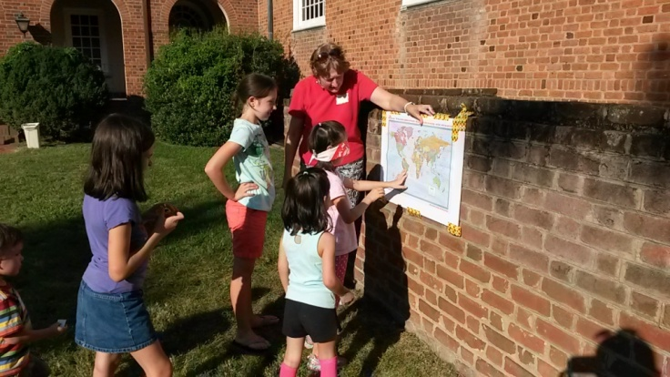 """A twist on """"pin the tail on the donkey,"""" they played """"Pin the Parks on Slovakia"""" - a great game to show people where Slovakia is."""