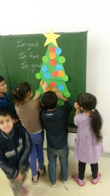 Reinforcing colors and shapes in English class using a colorful Christmas Tree!